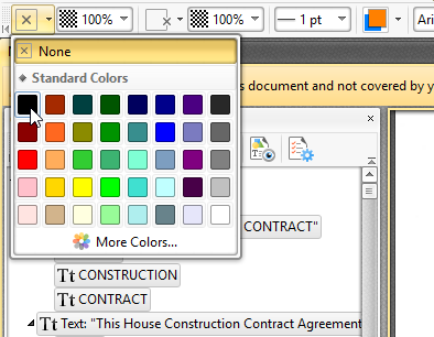 PDF-XChange Editor - Content pane - select text - fill color.png